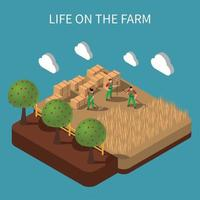 Life On Farm Isometric Composition Vector Illustration