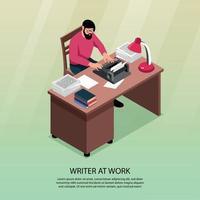 Writer Isometric Poster Vector Illustration
