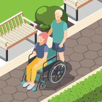 Ilustración de vector de fondo isométrico de personas discapacitadas