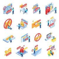 Internet Blocking Icons Set Vector Illustration