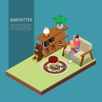 Babysitter Isometric Composition Vector Illustration