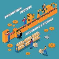 Factory Isometric Background Vector Illustration