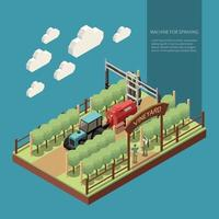 Vine Yard Isometric Composition Vector Illustration