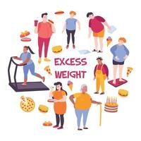 Fat People Composition Vector Illustration