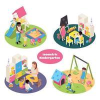 Isometric Kindergarten Compositions Set Vector Illustration