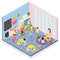 Kindergarten Room Isometric Composition Vector Illustration