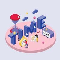 Deadline Time Isometric Composition Vector Illustration