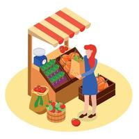 Local Farm Market Composition Vector Illustration
