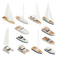Yachting Isometric Icon Set Vector Illustration