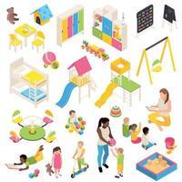 Kindergarten Isometric Elements Collection Vector Illustration
