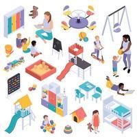 Kindergarten Elements Isometric Set Vector Illustration