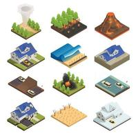 Natural Disaster Isometric Icon Set Vector Illustration