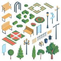 Public Garden Elements Set Vector Illustration