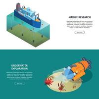 Marine Discovery Horizontal Banners Vector Illustration