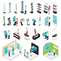 Exhibition Stands Isometric Set Vector Illustration