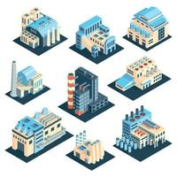 Isometric Industrial Plants Collection Vector Illustration