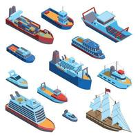 Isometric Water Transport Set Vector Illustration