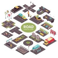 Road Constructor Isometric Composition Vector Illustration
