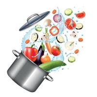 Vegetables Pot Realistic Composition Vector Illustration