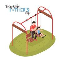 Fathers Day Isometric Design Concept Vector Illustration