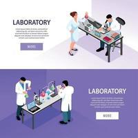 Pharmaceutic Laboratory Banners Set Vector Illustration