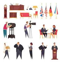 President Workplace Residence Set Vector Illustration