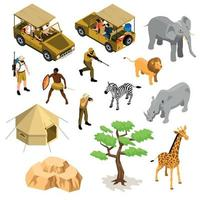 Isometric Safari Icons Set Vector Illustration