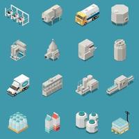 Milk Production Icons Set Vector Illustration