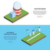 Weather Station Horizontal Banners Vector Illustration