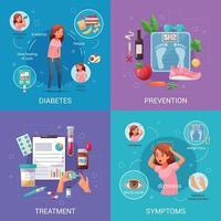 Diabetes Cartoon 2x2 Design Concept Vector Illustration