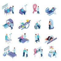 Cancer Control Isometric Concept  Set Vector Illustration