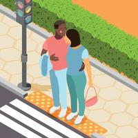 Different Couples Isometric Background Vector Illustration