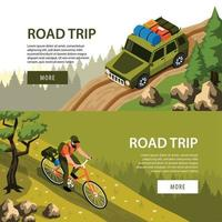 Isometric Camping Horizontal Banners Vector Illustration