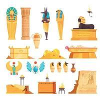 Egyptian Tombs Set Vector Illustration