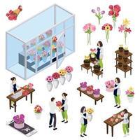 Flower Shop Isometric Icons Vector Illustration
