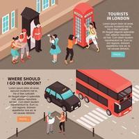 turistas en londres banners horizontales vector illustration