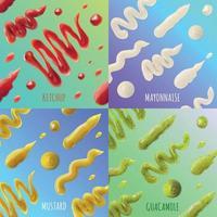 Sauce Spots Concept Icons Set Vector Illustration