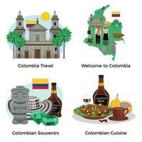 Colombia Tourism Concept Icons Set Vector Illustration