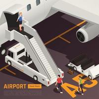 Airstairs Truck Airport Background Vector Illustration
