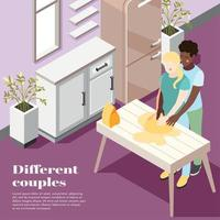 Different Couples Isometric Poster Vector Illustration