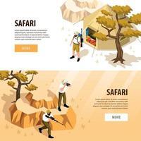 Safari Banners Set Vector Illustration
