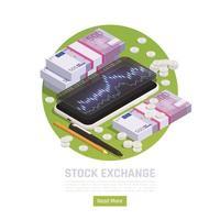 Stock Exchange Isometric Background Vector Illustration