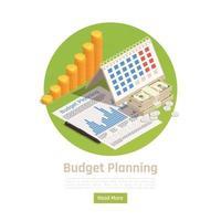 Isometric Budget Planning Background Vector Illustration