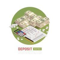 Money Deposit Isometric Background Vector Illustration