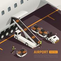 Aircraft Baggage Loading Background Vector Illustration