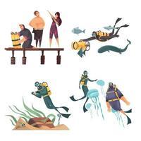Scuba Diving Compositions Vector Illustration