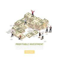 Isometric Profitable Investment Background Vector Illustration