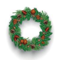 Fir Needle Wreath Composition Vector Illustration