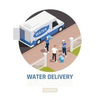 Ilustración de vector de fondo de entrega de agua isométrica