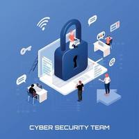 Cyber Security Isometric Concept Vector Illustration